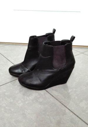 H&M Wedges schwarz 38 Keilabsatz Stiefelette Plateau Blogger Hipster Stiefel