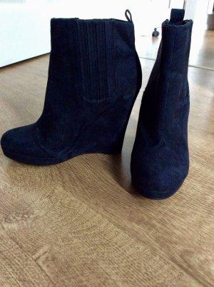 H&M Weges Keilabsatz Ankle Boots Stiefeletten Schwarz 37 Blogger
