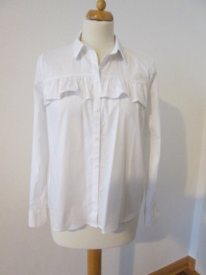 H&M weiße Bluse elastisch mit Rüsche Gr. 36 neu