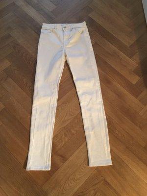 H&M Pantalón de cintura alta blanco Algodón