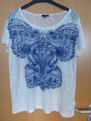 H&M Weißes durchscheinendes T-Shirt mit blauem Druck