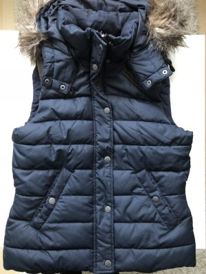 H&M Hooded Vest dark blue-dark brown