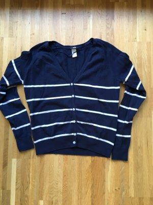 H&M Smanicato lavorato a maglia blu scuro-bianco Cotone