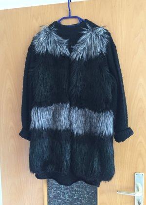 H&M Weste Fake fur schwarz grau gr. S Blogger