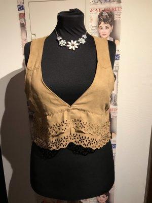 H&M Leather Vest cognac-coloured-brown