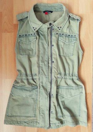 H&M Divided Gilet en jean vert clair-kaki coton