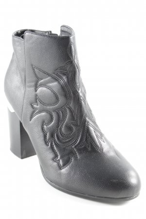 H&M Western Booties black abstract pattern biker look