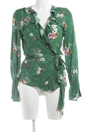 H&M Wickel-Bluse grün Blumenmuster Casual-Look