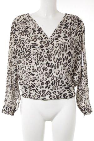 H&M Blusa cruzada amarillo claro-marrón-negro estampado de animales