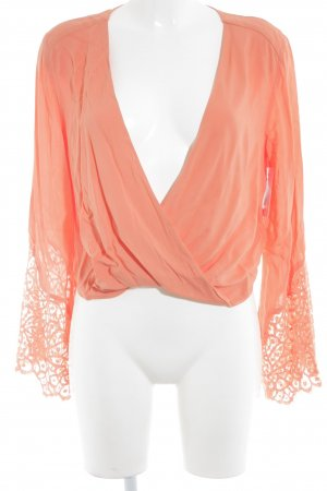H&M Wraparound Blouse salmon weave pattern beach look