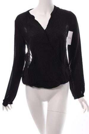 H&M Blusa cruzada negro estilo clásico