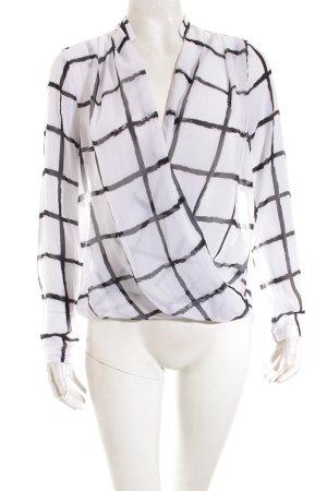 H&M Wickel-Bluse schwarz-weiß Karomuster Transparenz-Optik