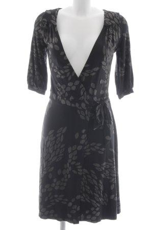H&M Robe portefeuille noir-marron clair motif floral style décontracté