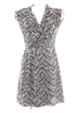H&M Vestido cruzado negro-blanco estampado con diseño abstracto look casual