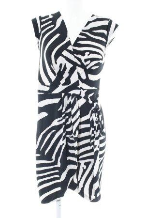 H&M Vestido cruzado negro-blanco estampado de animales estampado animal