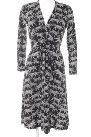 H&M Robe portefeuille noir-blanc cassé motif animal style décontracté