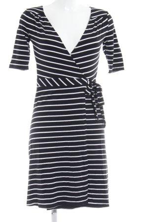 H&M Vestido cruzado blanco-azul oscuro estampado a rayas look casual