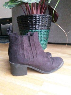 h&m Wildleder ankle boots 36 schwarz silber Kappe Stiefeletten wie acne boots