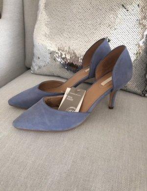 H&M Wildleder Pumps Schuhe Heels Büro Office Business blau 39