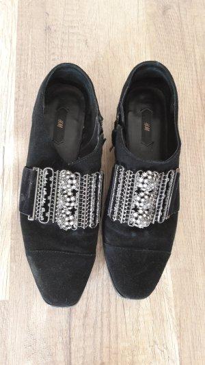 H&M Wildleder Schuhe Slipper Budapester Blogger Trend Ethno Hipster Halbschuhe