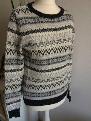 H&M Pull norvégien gris-blanc