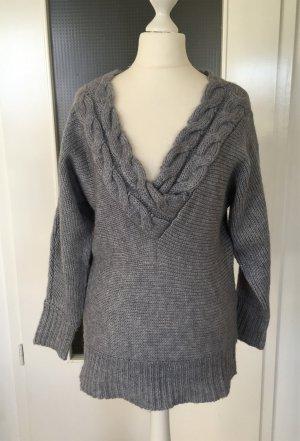 H&M Winter Pullover XS 34 Grau Wollpullover Pulli Sweater Strickpullover Longpulli Maxi Oversized