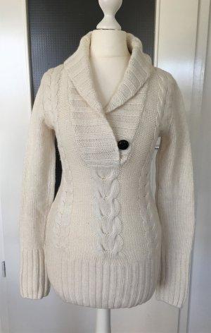 H&M Winter Pullover XS 34 Weiß Wollpullover Pulli Sweater Strickpullover Longpulli Maxi Oversized