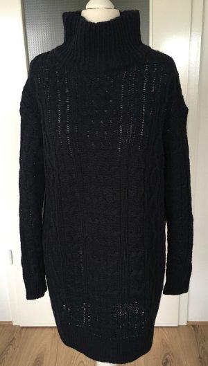 H&M Winter Strickpulli Pullover XS 34 Navy Blau Maxi Oversize Pulli Rollkragen Rolli Longpulli