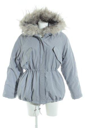 H&M Winterjacke hellgrau-weiß schlichter Stil