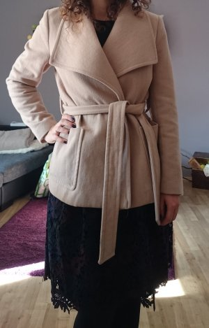 H&M Winterjacke wickel-Mantel beige braun Wassefallkragen Gr. S Zara