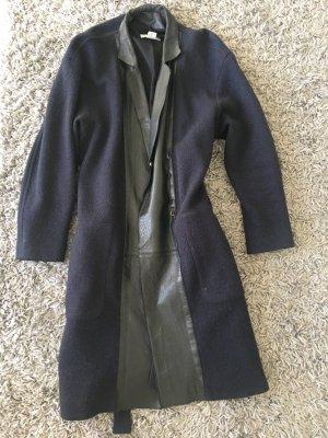 H&M Wintermantel aus Wolle und Leder. Wickelmantel in Blau