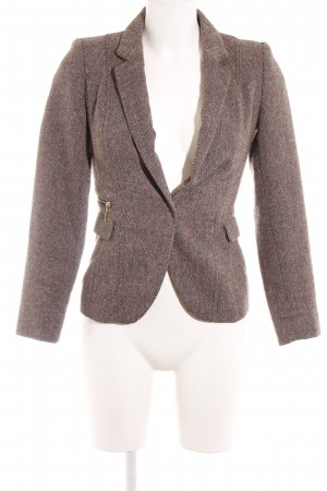 H&M Wool Blazer black brown-pink herringbone pattern business style