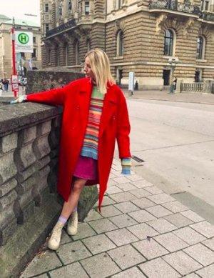 H&M Wollmantel Rot reine Wolle zweireihig neuwertig Trendteil in Premiumqualität