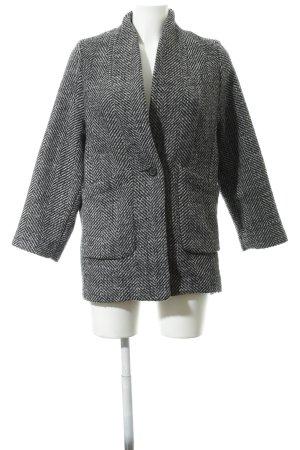H&M Wollmantel schwarz-grau Zackenmuster Casual-Look