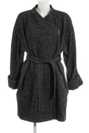 H&M Wollmantel schwarz-weiß meliert Casual-Look