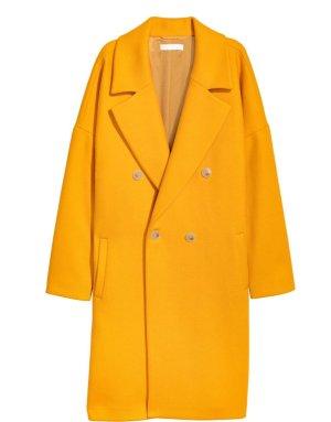 H&M Wollmantel V / O Shape gelb Gr. 38