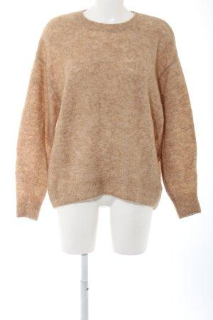 H&M Jersey de lana crema-marrón moteado look casual