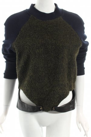 H&M Jersey de lana azul oscuro-verde oliva Apariencia de mezcla de materiales