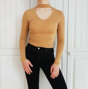 H&M XS Croptop Senf Crop Top Braun Beige Choker t-shirt tshirt shirt pulli pullover