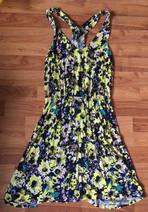H&m XS einmal getragen geblümtes Kleid Floral Blumen trägerkleid gelb einmal getragen