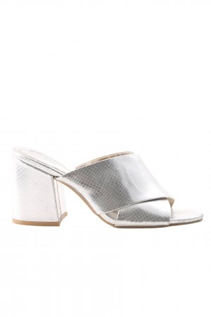H&M Zehen-Sandaletten silberfarben Allover-Druck Casual-Look