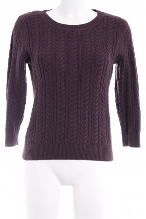 H&M Cable Sweater brown violet cable stitch casual look