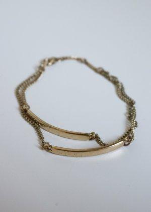H&M zweireihiges goldenes Armband mit Tags Neu
