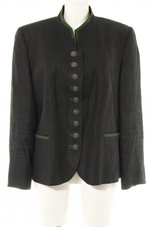 H.Moser Giacca tradizionale grigio scuro-verde bosco puntinato look vintage