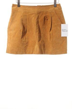 H81 Falda de cuero camel