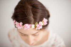 Haarband Blumenkrone rose rosa