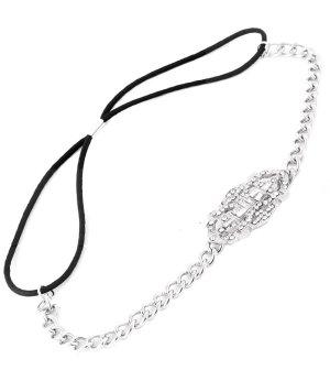 Haarband zilver Glas