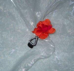 Haarblume Schnapp Haarspange Blüte koralle h m rot Strass Steine schwarz