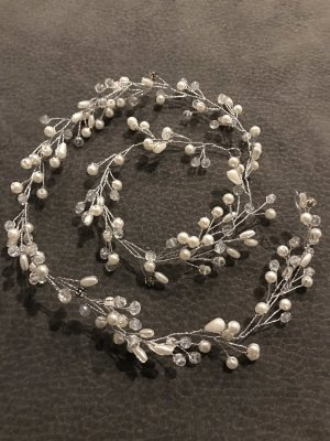 Haarelastiek wit-zilver