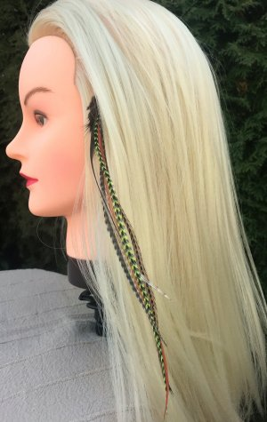 Haarfedern Hippes Hairstyling Grizzly Clip Featherheads Haarverlängerung Festival Boho Extensions